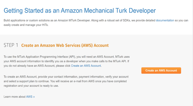 The first step is creating an AWS account.