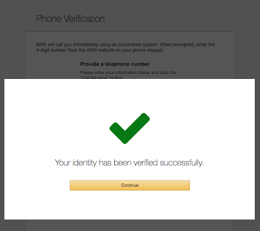 Your identity has been verified successfully screen