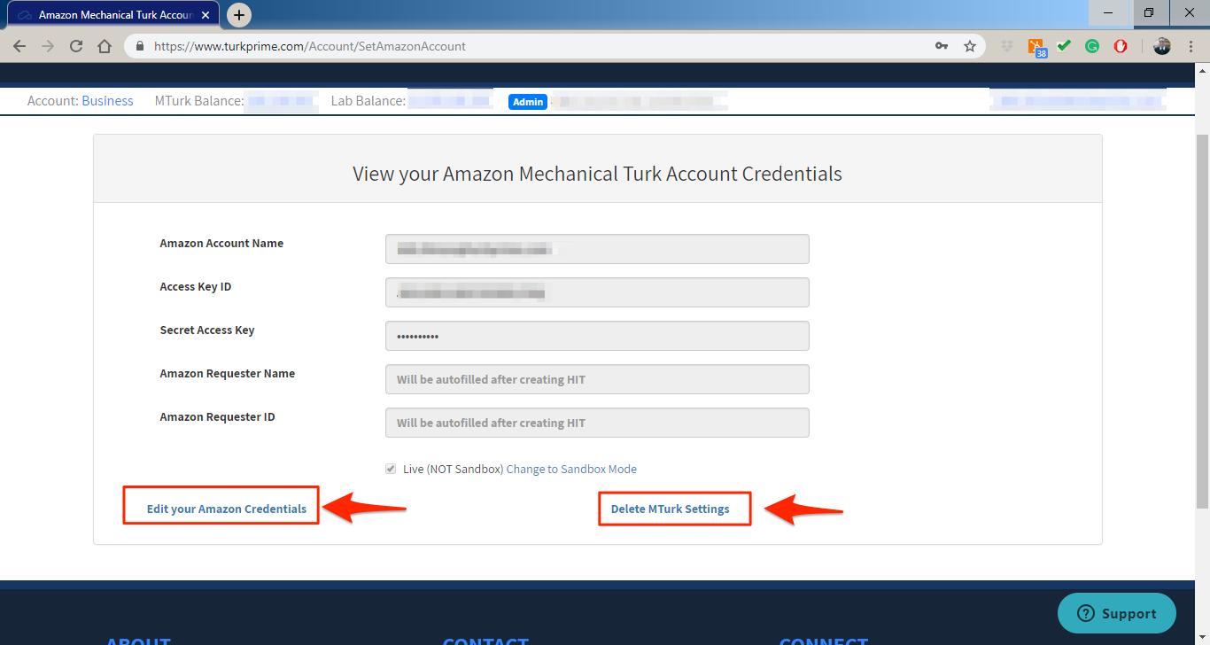MTurk Credentials page