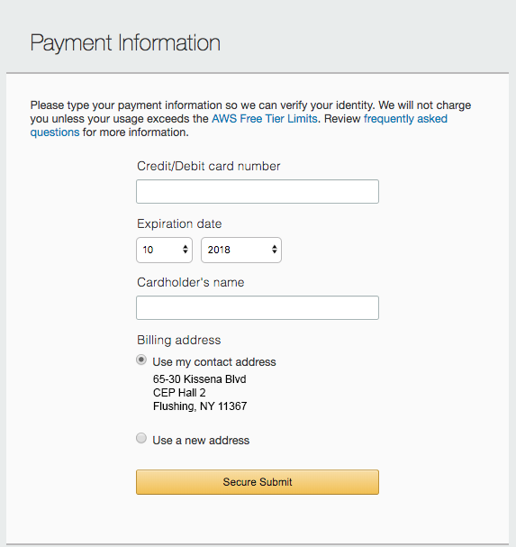 Enter your payment information